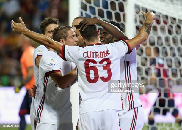 Franck Kessie celebrates after scoring his team's opening goal of Milan during the Serie A match between FC Crotone and AC Milan on August 20 2017 in...