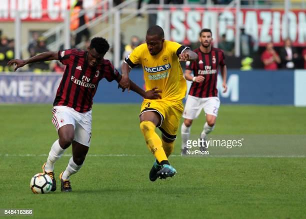 Franck Kessie during Serie A match between Milan v Udinese in Milan on September 17 2017