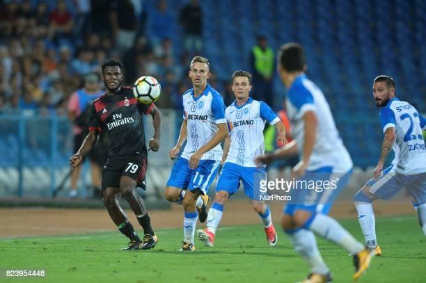 Franck Kessie left of AC Milan in action during CSU Craiova v AC Milan UEFA Europa League 2017/2018 Third Qualifying Round in Drobeta Turnu Severin...