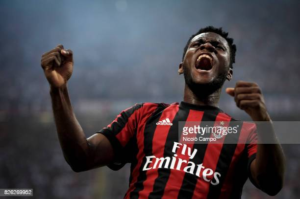 Franck Kessie of AC Milan celebrates after scoring a goal during the UEFA Europa League qualifier football match between AC Milan and CSU Craiova AC...