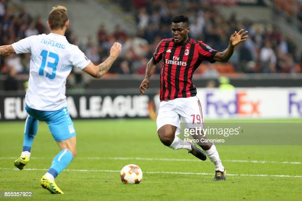Franck Kessie of Ac Milan in action during the UEFA Europa League group D football match between AC Milan and HNK Rijeka AC Milan wins 32 over HNK...