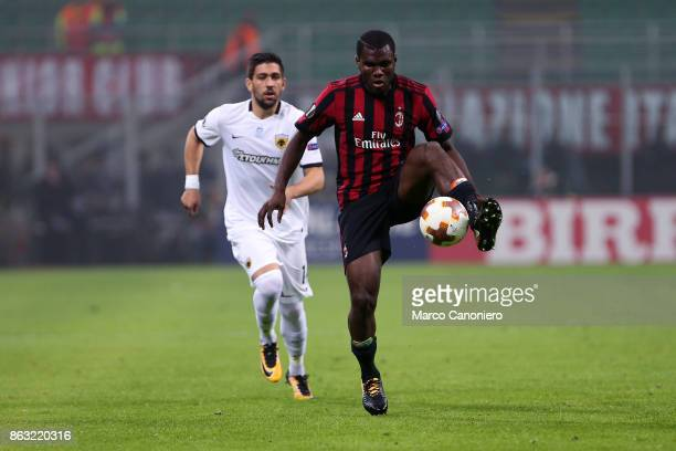 Franck Kessie of Ac Milan in action during the UEFA Europa League group D football match between AC Milan and AEK Athens