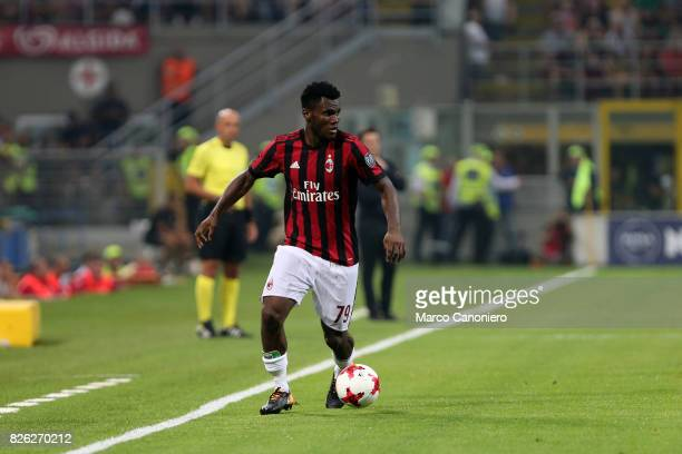 Franck Kessie of Ac Milan in action during the UEFA Europa League Third Qualifying Round Second Leg match between AC Milan and CSU Craiova AC Milan...