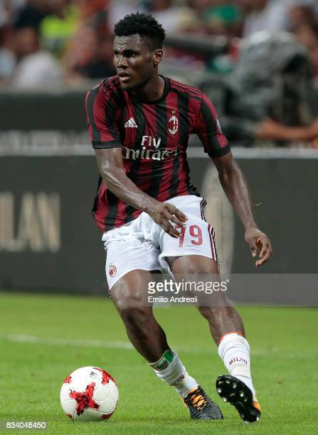 Franck Kessie of AC Milan in action during the UEFA Europa League Qualifying PlayOffs round first leg match between AC Milan and KF Shkendija 79 at...