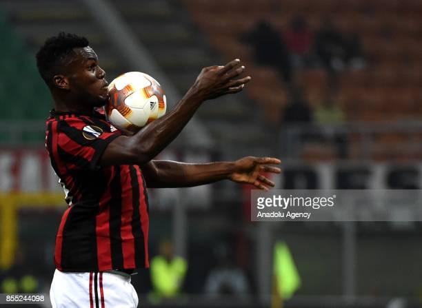 Franck Kessie of AC Milan in action during the UEFA Europa League Group stage match between AC Milan and Hrvatski Nogometni Klub Rijeka at the...