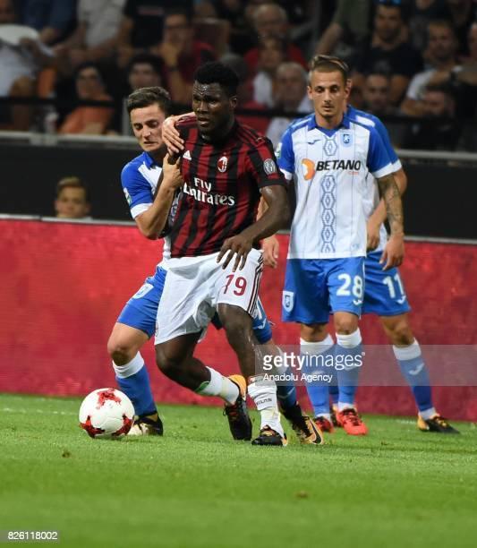 Franck Kessie of AC Milan in action during UEFA Europa League Qualifying Round match between AC Milan and CS U Craiova at Giuseppe Meazza of San Siro...