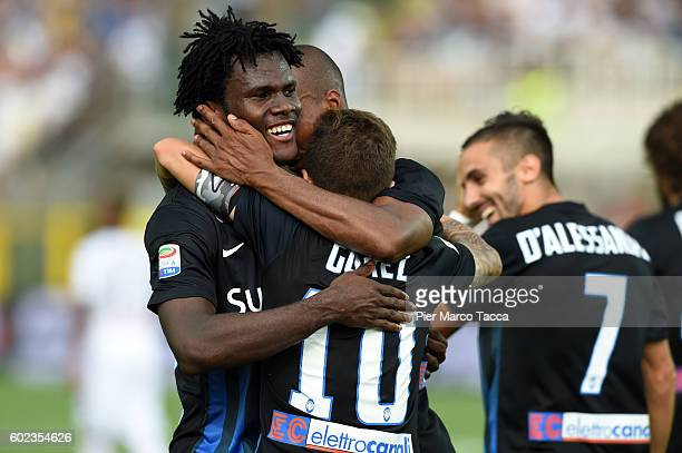 Franck Kessie of Atalanta BC celebrates his first goal oto make it 21 during the Serie A match between Atalanta BC and FC Torino at Stadio Atleti...