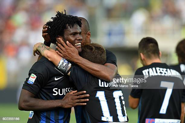 Franck Kessie of Atalanta BC celebrates his first goal to make it 21 during the Serie a match between Atalanta BC and FC Torino at Stadio Atleti...