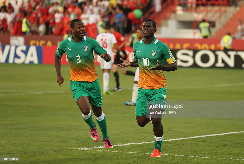 Franck Kessie of Ivory Coast celebrates scoring a penalty during the Round of 16 match of the FIFA U-17 World Cup between Morocco and Ivory Coast at Fujairah Stadium on October 29, 2013 in Fujairah, United Arab Emirates.
