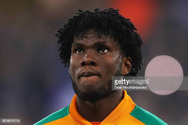 Franck Kessie of The Ivory Coast stands for the national anthem prior to the International Friendly match between France and Ivory Coast held at...