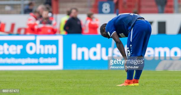 Franck Kom jj reacts during the Second Bundesliga match between Karlsruher SC and Fortuna Duesseldorf at Wildparkstadion on March 19 2017 in...