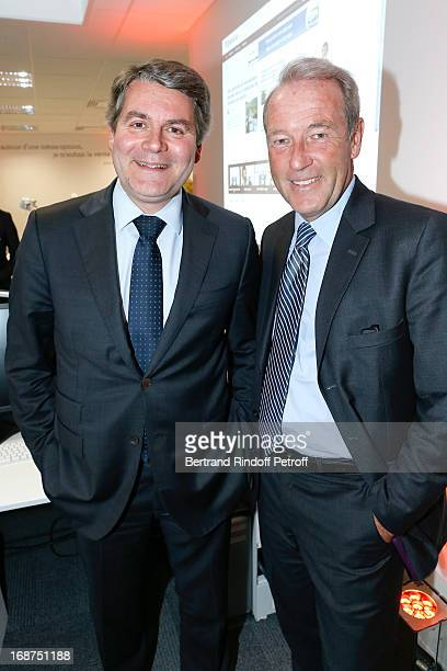 Franck Louvrier and CEO of L'Opinion Christophe Chenut attend 'L'Opinion' Newspaper Launch Party on May 14 2013 in Paris France
