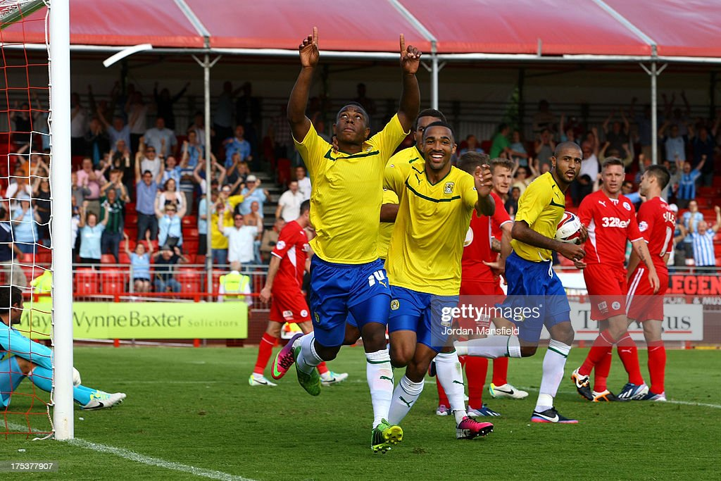Franck Moussa of Coventry celebrates after scoring during the Sky Bet League One match between Crawley Town FC and Coventry at Broadfield Stadium on August 03, 2013 in Crawley, West Sussex,