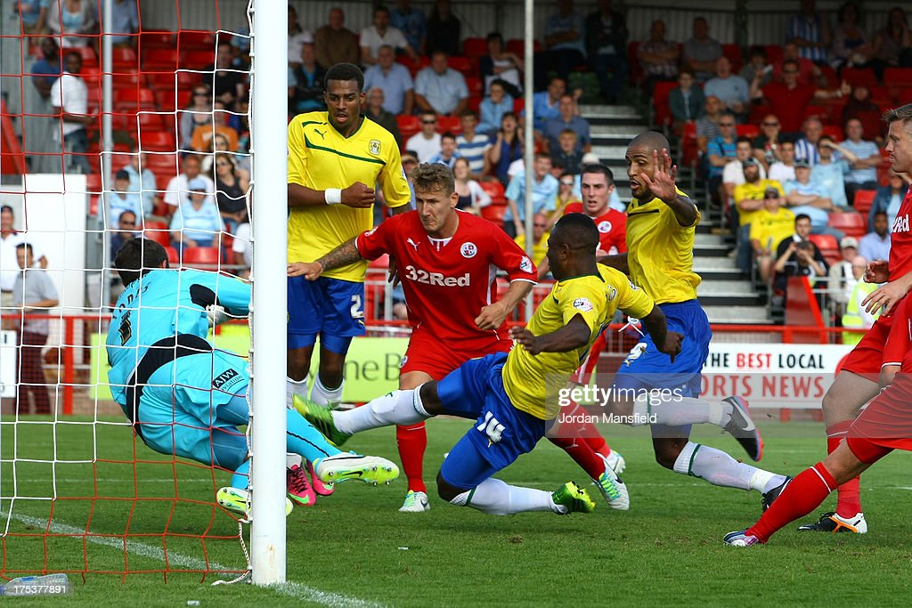 Franck Moussa of Coventry scores during the Sky Bet League One match between Crawley Town FC and Coventry at Broadfield Stadium on August 03, 2013 in Crawley, West Sussex,