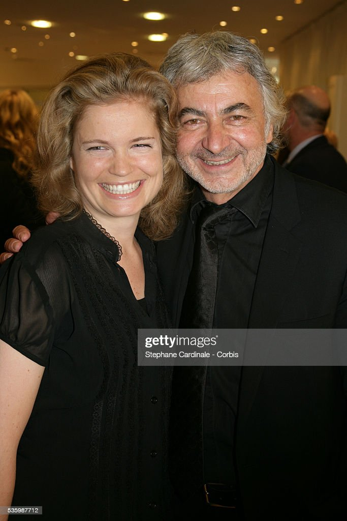 Franck Provost and Sarah Biasini at the opening of the 'Espace Franck Provost' at Galeries Lafayette, in Paris.
