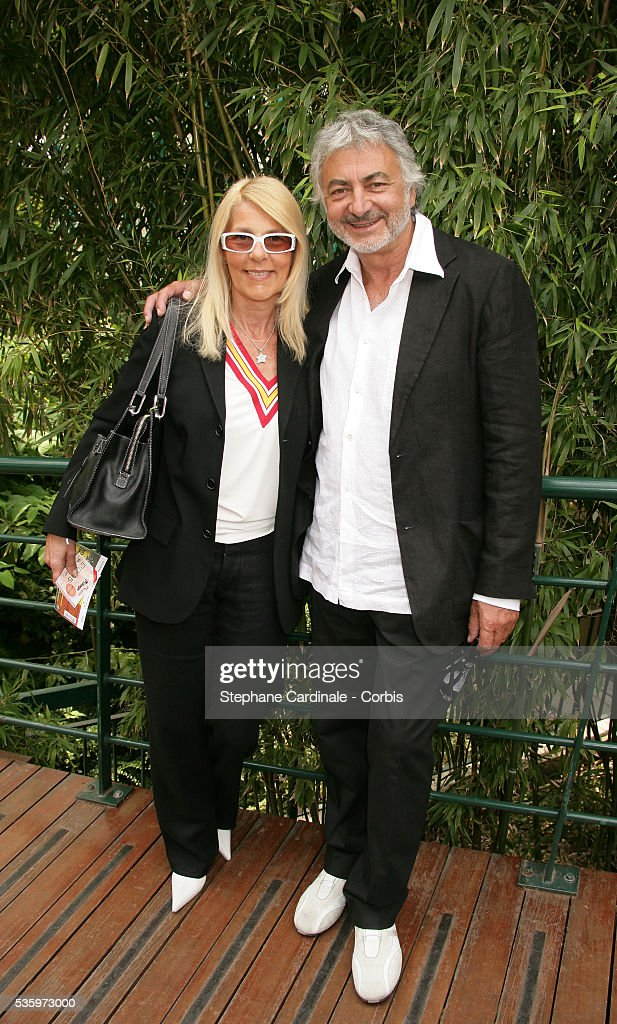 Franck Provost with his wife Natacha visit Roland Garros Village during the 2005 French Open tennis.