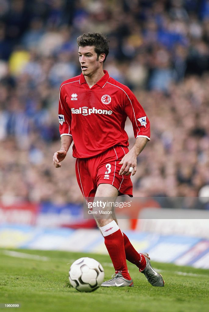 Franck Queudrue of Middlesbrough runs with the ball during the FA Barclaycard Premiership match between Birmingham City and Middlesbrough held on April 26, 2003 at St Andrews, in Birmingham, England. Birmingham City won the match 3-0.