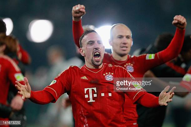 Franck Ribery and Arjen Robben of Bayern celebrate the 42 victory after penalty shootout after the DFB Cup semi final match between Borussia...