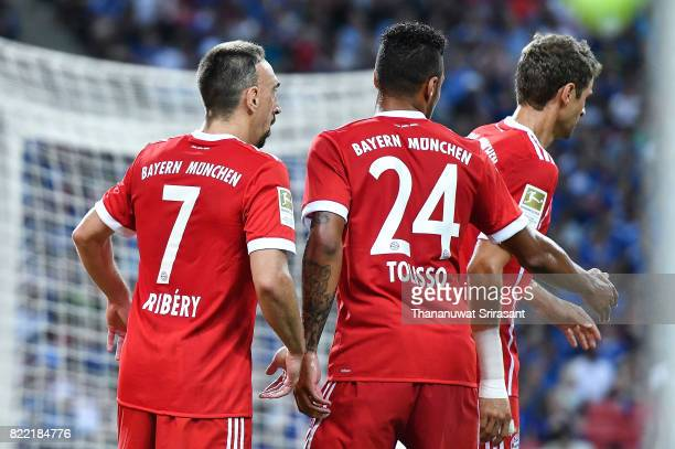 Franck Ribery and Corentin Tolisso of FC Bayern Muenchen celebrates during the International Champions Cup match between Chelsea FC and FC Bayern...