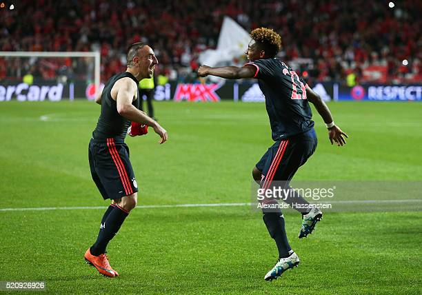 Franck Ribery and David Alaba of Bayern Muenchen celebrate after the UEFA Champions League quarter final second leg match between SL Benfica and FC...