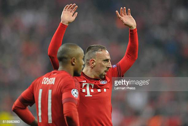 Franck Ribery and Douglas Costa of Bayern Muenchen react during the UEFA Champions League Round of 16 second leg match between FC Bayern Muenchen and...