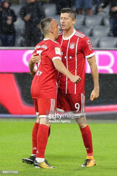 Franck Ribery and Robert Lewandowski of Bayern Munich celebrate the goal during the German First division Bundesliga soccer match between FC Bayern...