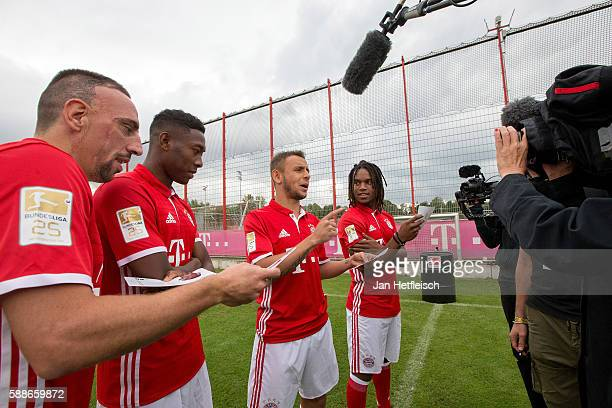 Franck Ribery David Alaba Rafinha and Renato Sanches of the FC Bayern Muenchen record a television spot during the DFL Media Day on August 2016 in...