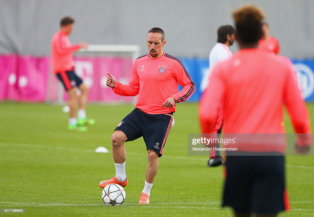 Franck Ribery in action during a FC Bayern Muenchen training session ahead of their UEFA Champions League semi final second leg match against Club Atletico de Madrid at the Saebener Strasse training ground on May 2, 2016 in Munich, Germany.