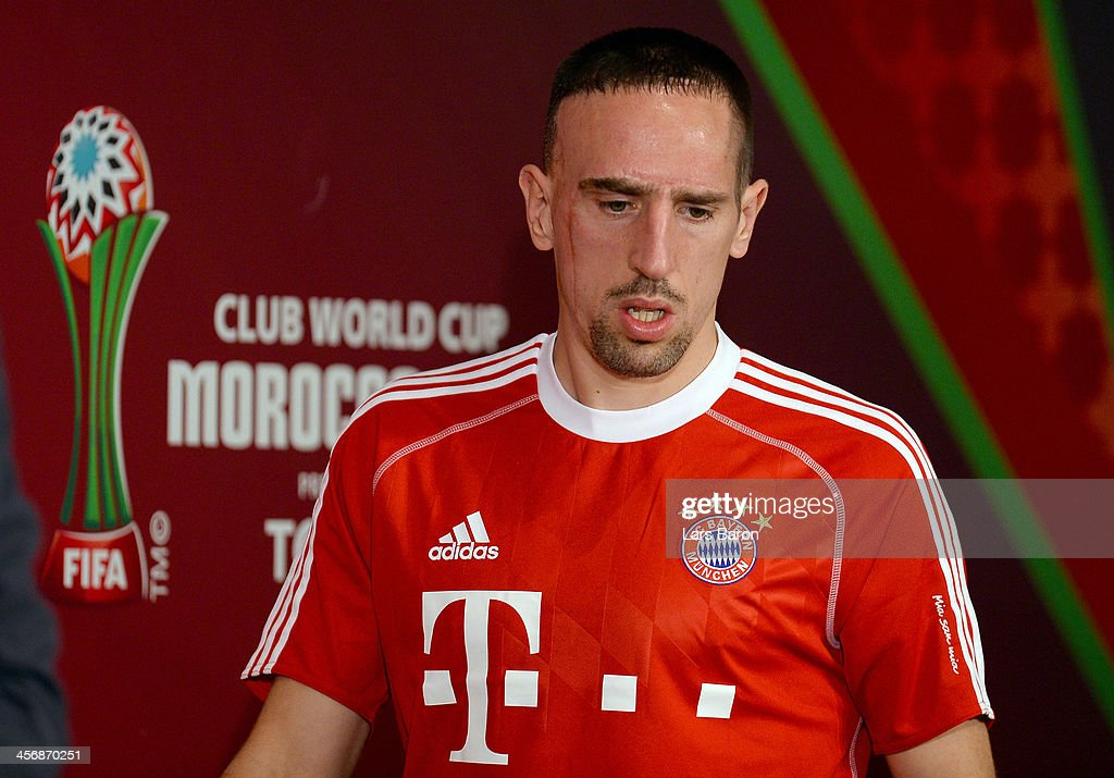 <a gi-track='captionPersonalityLinkClicked' href=/galleries/search?phrase=Franck+Ribery&family=editorial&specificpeople=490869 ng-click='$event.stopPropagation()'>Franck Ribery</a> looks on during a Bayern Muenchen press conference for the FIFA Club World Cup at Agadir Stadium on December 15, 2013 in Agadir, Morocco.