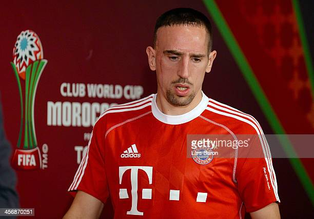 Franck Ribery looks on during a Bayern Muenchen press conference for the FIFA Club World Cup at Agadir Stadium on December 15 2013 in Agadir Morocco