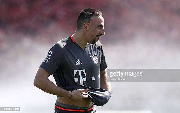 Franck Ribery looks on during a training session at day 2 of the Bayern Muenchen training camp at Aspire Academy on January 4 2017 in Doha Qatar