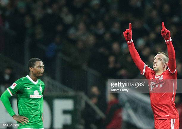 Franck Ribery of Bayern celebrates scoring a goal during the Bundesliga match between Werder Bremen and FC Bayern Muenchen at Weserstadion on...