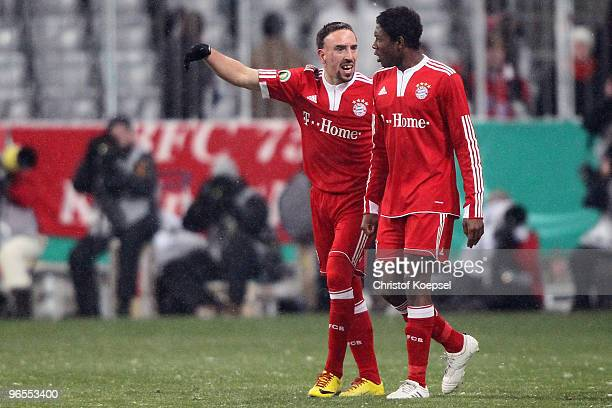 Franck Ribery of Bayern celebrates the third goal with David Alaba during the DFB Cup quarter final match between FC Bayern Muenchen and SpVgg...
