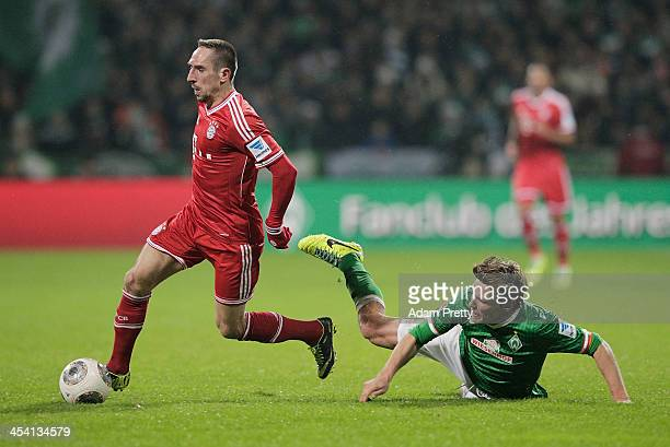 Franck Ribery of Bayern in action during the Bundesliga match between Werder Bremen and FC Bayern Muenchen at Weserstadion on December 7 2013 in...