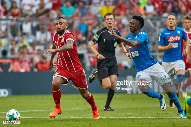 Franck Ribery of Bayern Muenchen and Amadou Diawara of Napoli battle for the ball during the Audi Cup 2017 match between SSC Napoli and FC Bayern...