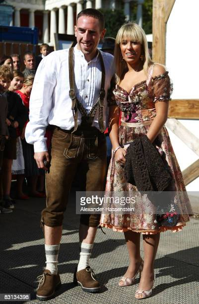 Franck Ribery of Bayern Muenchen and his wife Wahiba arrive at the Kaefer beer tent during the Oktoberfest beer festival on October 5 2008 in Munich...