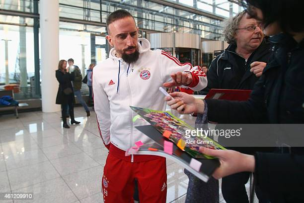 Franck Ribery of Bayern Muenchen arrives at the airport for the departure to the team's training camp in Doha Qatar on January 9 2015 in Munich...