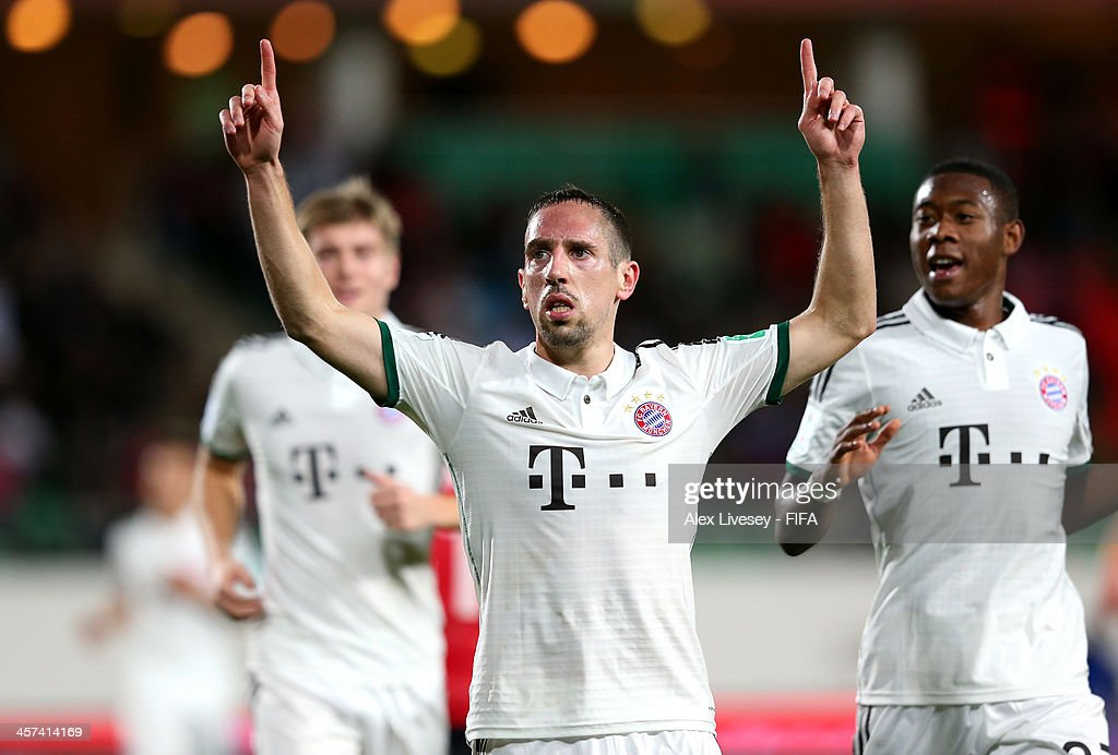 <a gi-track='captionPersonalityLinkClicked' href=/galleries/search?phrase=Franck+Ribery&family=editorial&specificpeople=490869 ng-click='$event.stopPropagation()'>Franck Ribery</a> of Bayern Muenchen celebrates after scoring the opening goal during the FIFA Club World Cup Semi Final match between Guangzhou Evergrande FC and Bayern Muenchen at the Agadir Stadium on December 17, 2013 in Agadir, Morocco.
