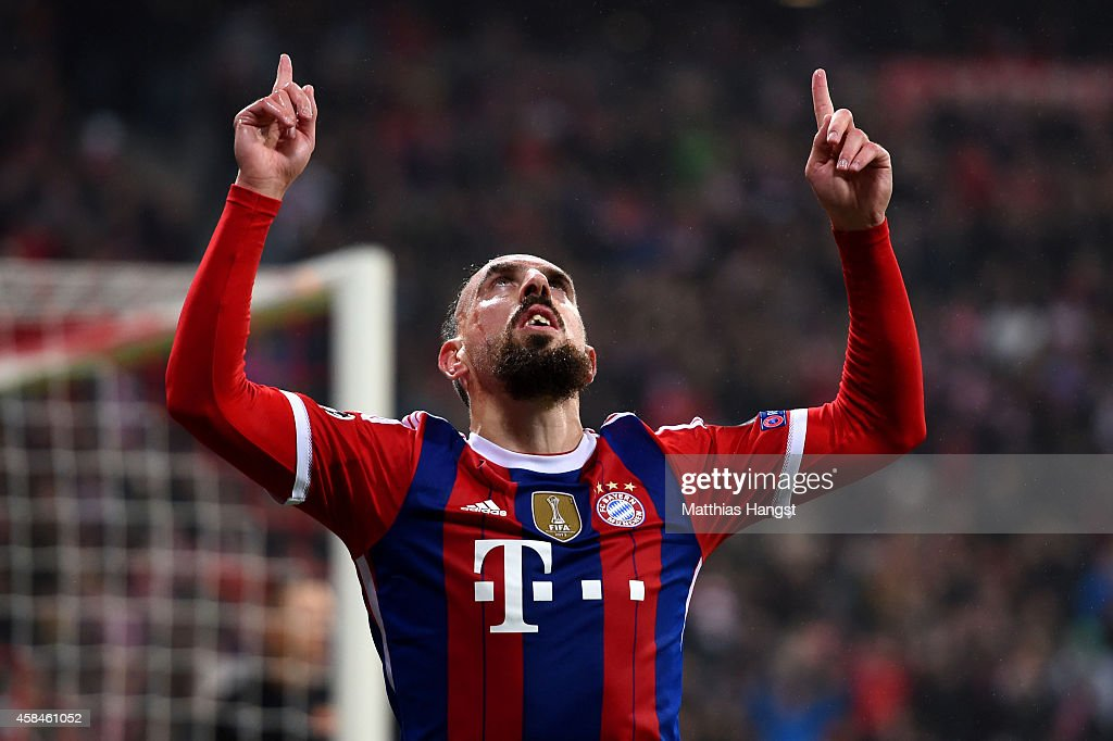Franck Ribery of Bayern Muenchen celebrates as he scores their first goal during the UEFA Champions League Group E match between FC Bayern Munchen and AS Roma at Allianz Arena on November 5, 2014 in Munich, Germany.