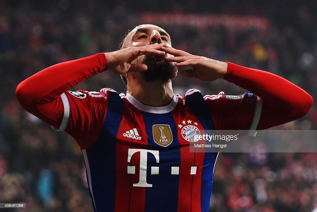 <a gi-track='captionPersonalityLinkClicked' href=/galleries/search?phrase=Franck+Ribery&family=editorial&specificpeople=490869 ng-click='$event.stopPropagation()'>Franck Ribery</a> of Bayern Muenchen celebrates as he scores their first goal during the UEFA Champions League Group E match between FC Bayern Munchen and AS Roma at Allianz Arena on November 5, 2014 in Munich, Germany.