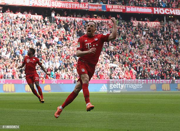 Franck Ribery of Bayern Muenchen celebrates his first goal during the Bundesliga match between FC Bayern Muenchen and Eintracht Frankfurt at Allianz...