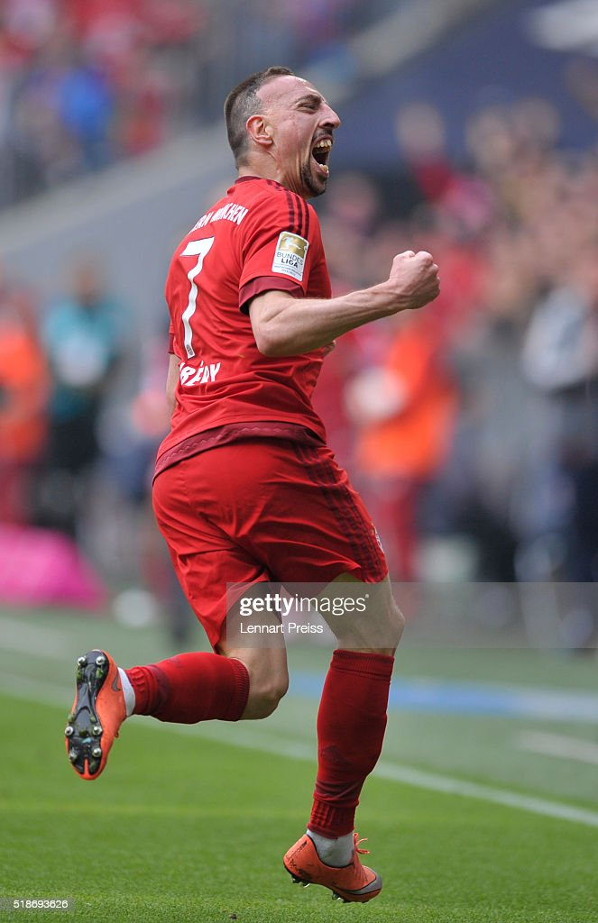 <a gi-track='captionPersonalityLinkClicked' href=/galleries/search?phrase=Franck+Ribery&family=editorial&specificpeople=490869 ng-click='$event.stopPropagation()'>Franck Ribery</a> (R) of Bayern Muenchen celebrates his opening goal during the Bundesliga match between FC Bayern Muenchen and Eintracht Frankfurt at Allianz Arena on April 2, 2016 in Munich, Germany.