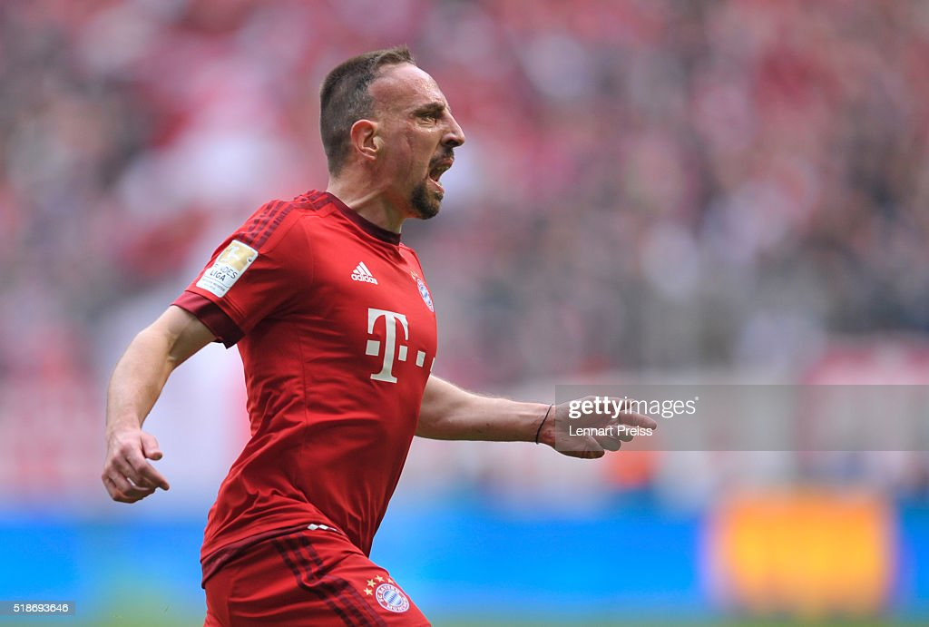 <a gi-track='captionPersonalityLinkClicked' href=/galleries/search?phrase=Franck+Ribery&family=editorial&specificpeople=490869 ng-click='$event.stopPropagation()'>Franck Ribery</a> of Bayern Muenchen celebrates his opening goal during the Bundesliga match between FC Bayern Muenchen and Eintracht Frankfurt at Allianz Arena on April 2, 2016 in Munich, Germany.