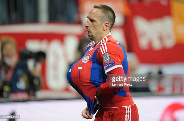 Franck Ribery of Bayern Muenchen celebrates his team's third goal during the UEFA Champions League Round of 16 second leg match between FC Bayern...