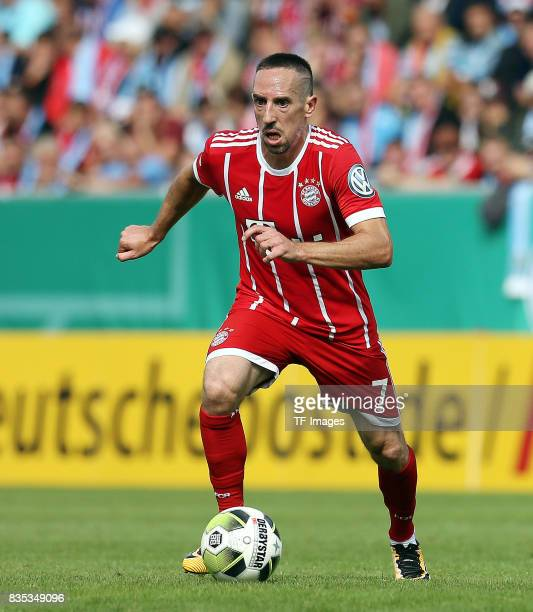 Franck Ribery of Bayern Muenchen controls the ball during the DFB Cup first round match between Chemnitzer FC and FC Bayern Muenchen at community4you...
