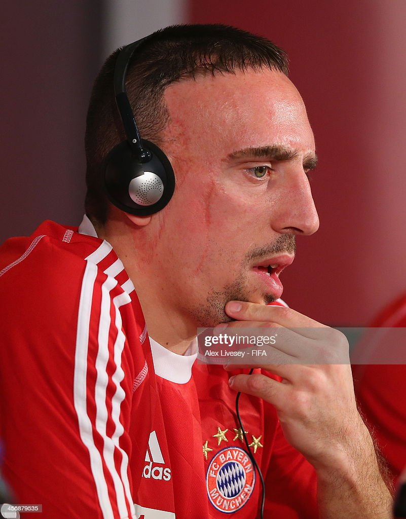 <a gi-track='captionPersonalityLinkClicked' href=/galleries/search?phrase=Franck+Ribery&family=editorial&specificpeople=490869 ng-click='$event.stopPropagation()'>Franck Ribery</a> of Bayern Muenchen faces the media during a press conference at the Agadir Stadium on December 15, 2013 in Agadir, Morocco.