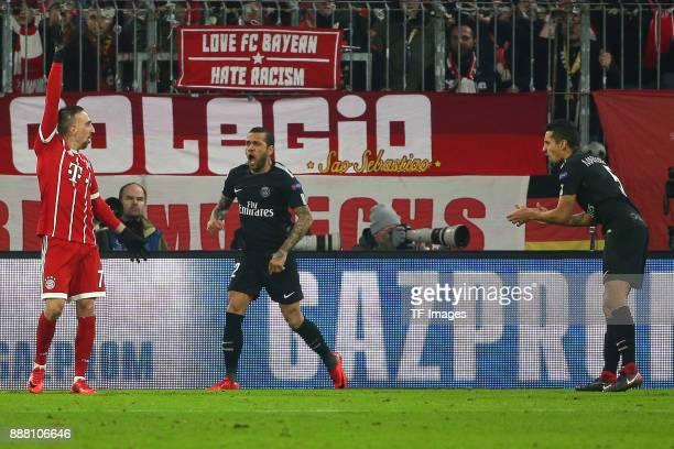 Franck Ribery of Bayern Muenchen gestures and Dani Alves of Paris SaintGermain and Marquinhos of Paris SaintGermain look dejected during the UEFA...