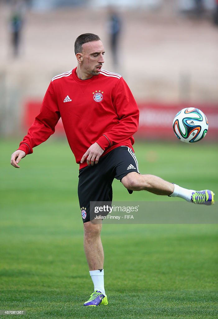 <a gi-track='captionPersonalityLinkClicked' href=/galleries/search?phrase=Franck+Ribery&family=editorial&specificpeople=490869 ng-click='$event.stopPropagation()'>Franck Ribery</a> of Bayern Muenchen in action during a training session outside the Agadir Stadium on December 16, 2013 in Agadir, Morocco.
