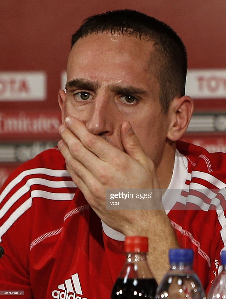 Franck Ribery of Bayern Muenchen looks on during a press conference for the FIFA Club World Cup at Agadir Stadium on December 15, 2013 in Agadir, Morocco.