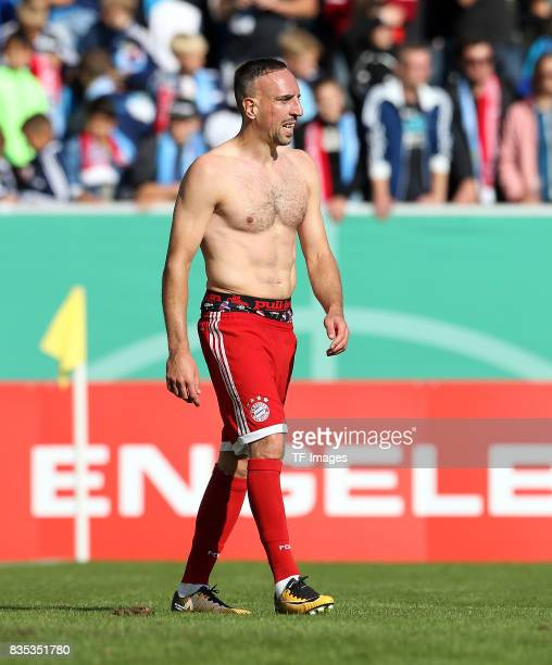 Franck Ribery of Bayern Muenchen looks on during the DFB Cup first round match between Chemnitzer FC and FC Bayern Muenchen at community4you Arena on...